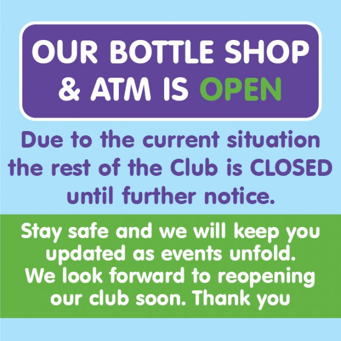 Our Bottle Shop and ATM is open