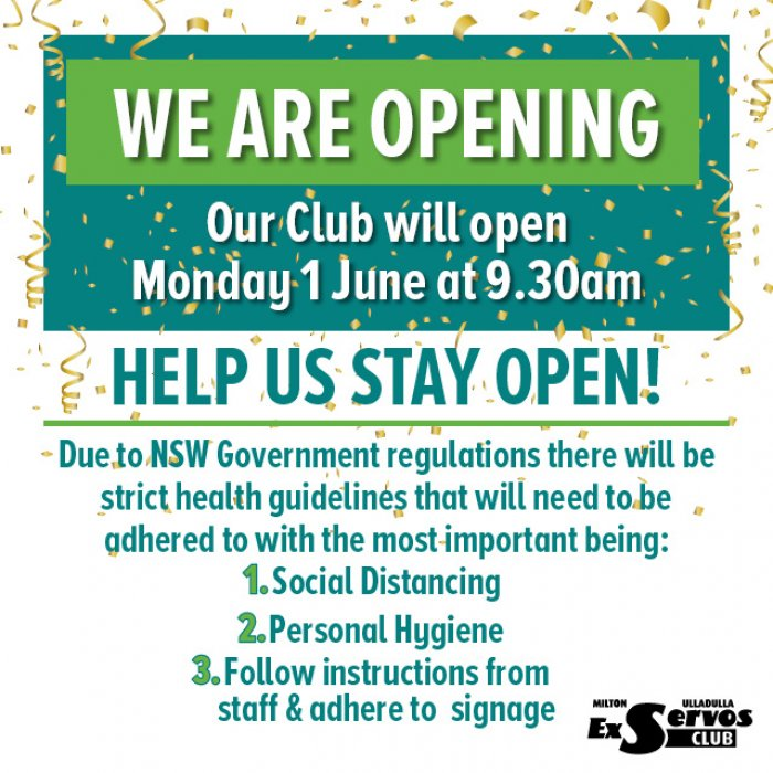 We are Opening Monday 1st June at 9.30am