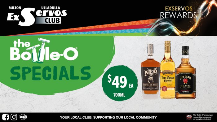 Ned Australian Whisky, Jose Cuervo Especial Tequila or Jim Beam Black