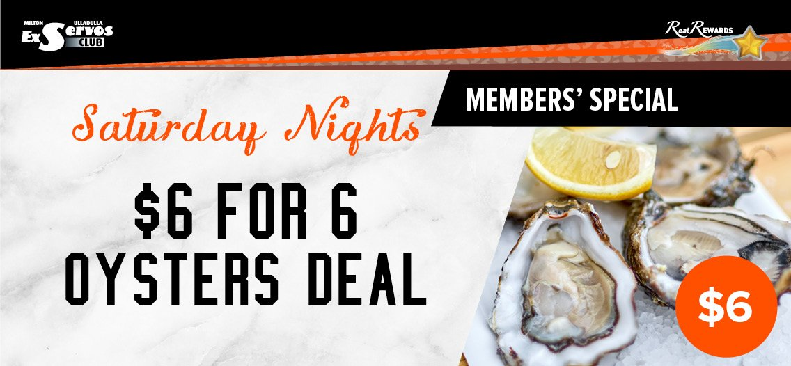 $6 for 6 Oysters - Saturday Nights