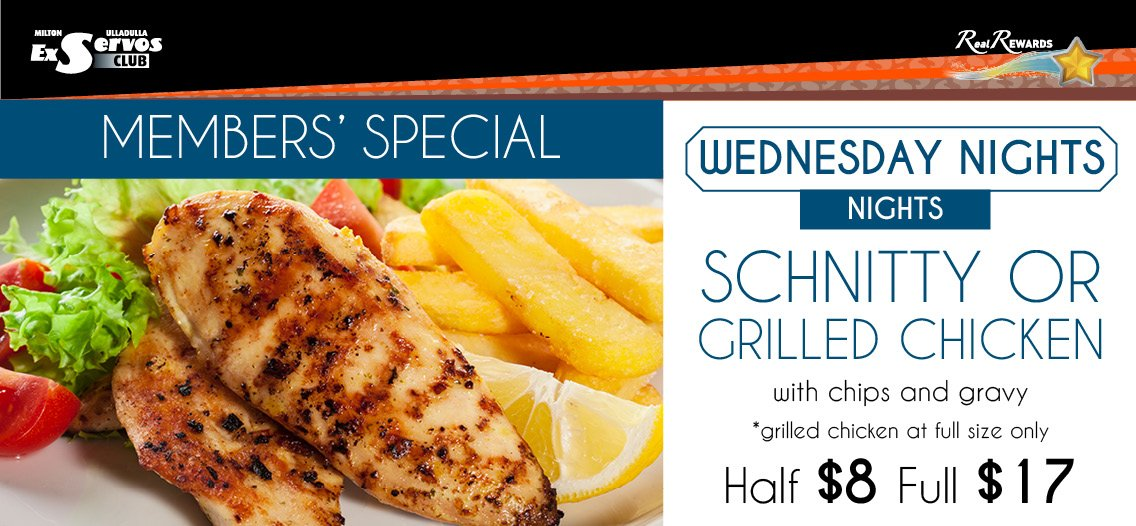 Chicken Schnitty or Grilled Chicken - Weds Nights